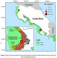 Map of proposed no fishing area off Osa Peninsula, Costa Rica