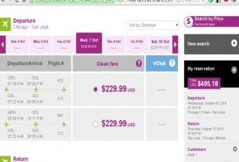 Volaris booking screen